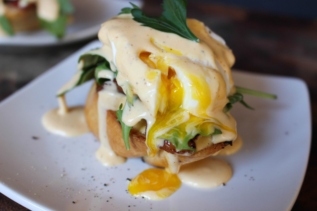 "Eggs Benedict ""My Way"" with Sriracha Hollandaise"