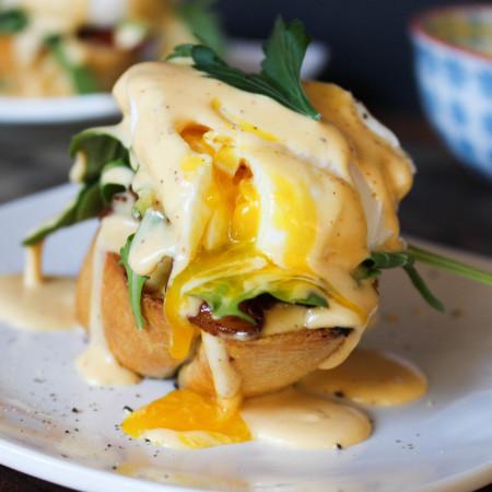 "Eggs Benedict ""My Way"" with Sriracha Hollandaise"