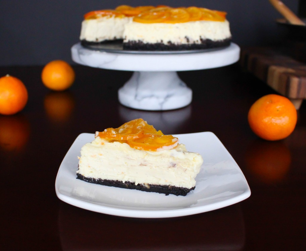 Clementine-Vanilla Bean Cheesecake with Chocolate Cookie Crust & Candied Clementines