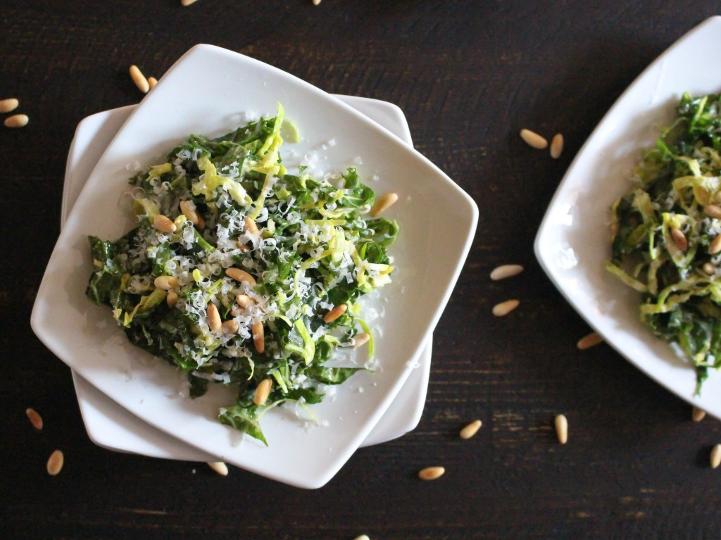 Raw Brussels Sprout & Kale Salad with Lemon Dressing   Yes to Yolks