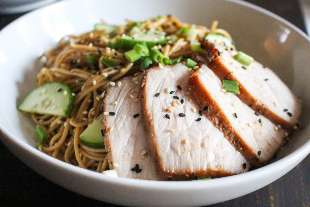 Warm Wasabi Noodles with Asian Marinated Pork | Yes to Yolks