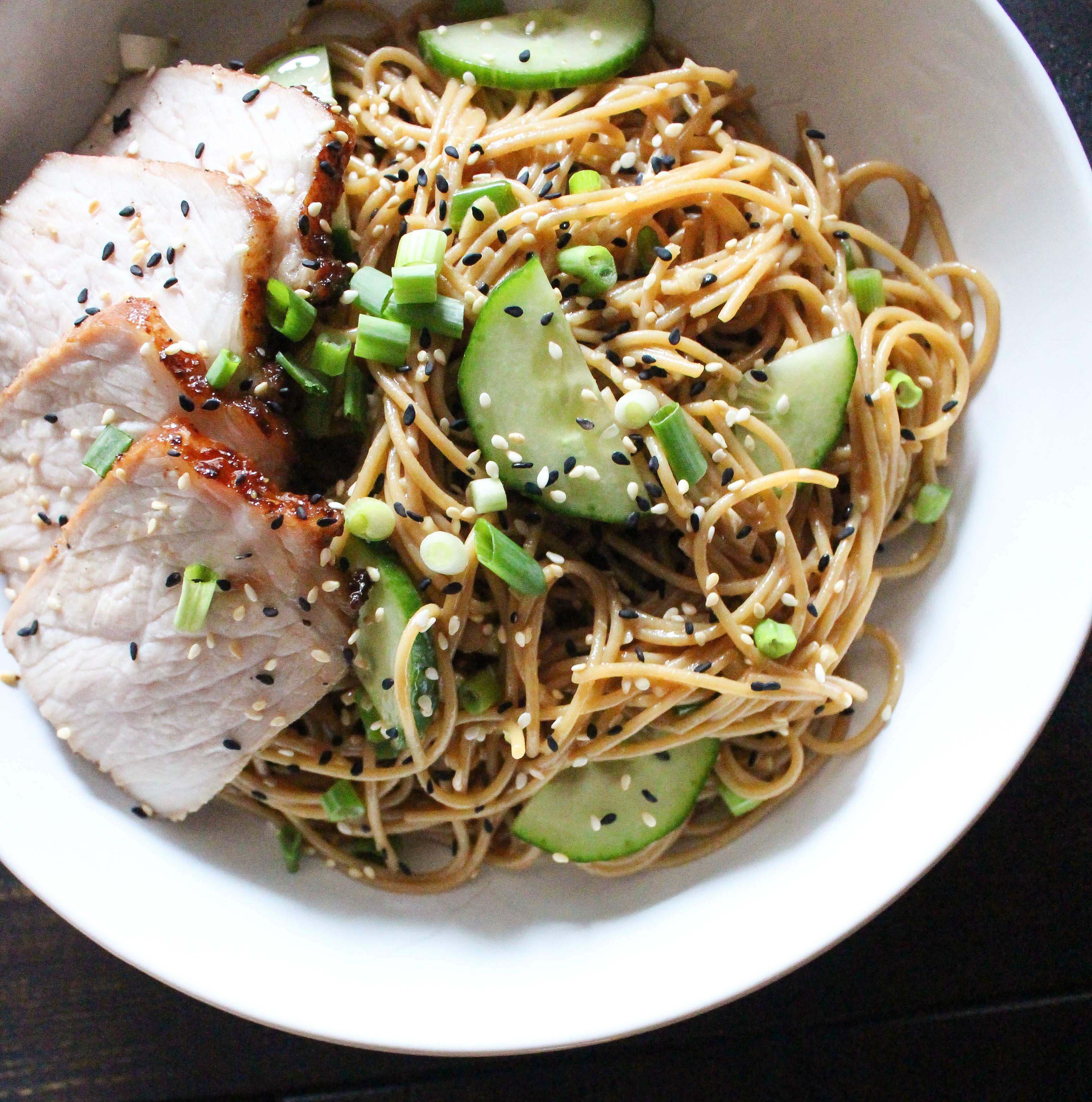 Warm Wasabi Noodles with Asian Marinated Pork Loin