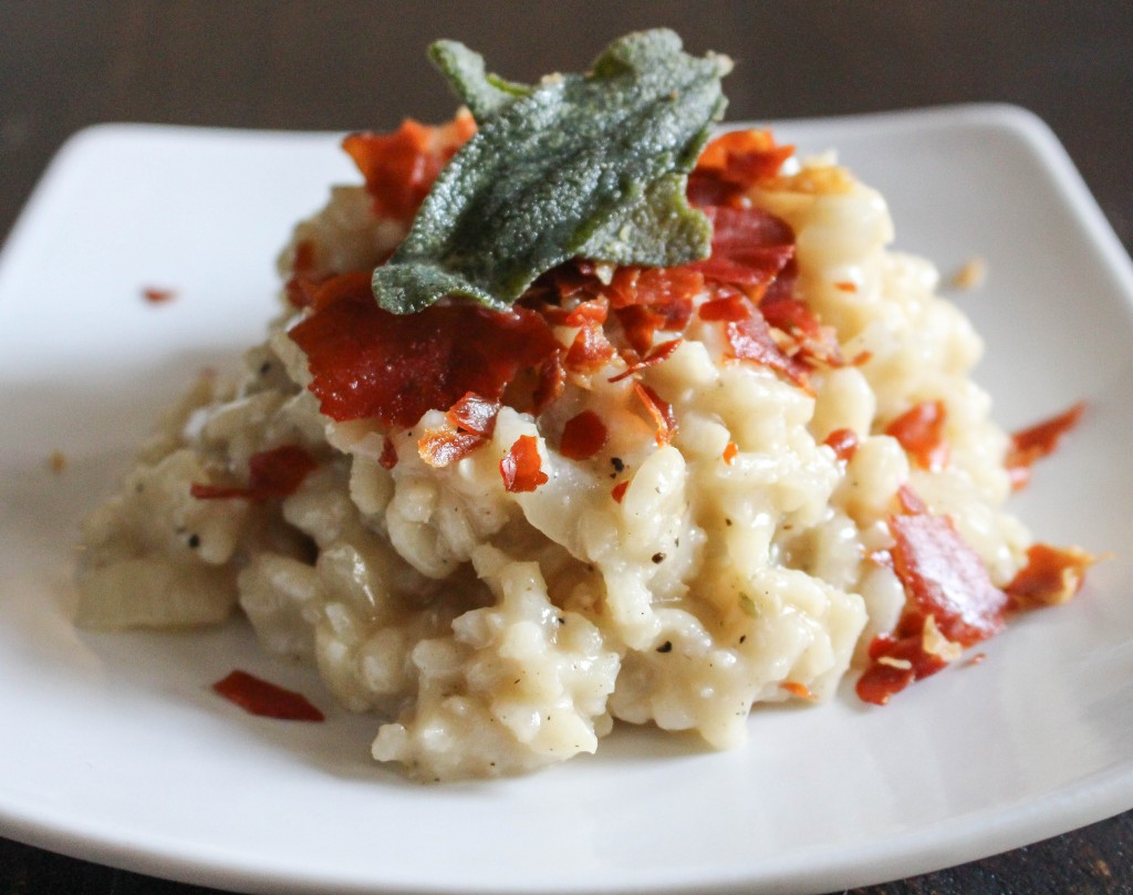 Pear Risotto with Crispy Prosciutto & Fried Sage   Yes to Yolks