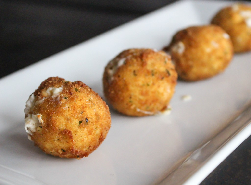 Smoked Gouda Fritters with Balsamic Honey Mustard Dipping Sauce | Yes to Yolks