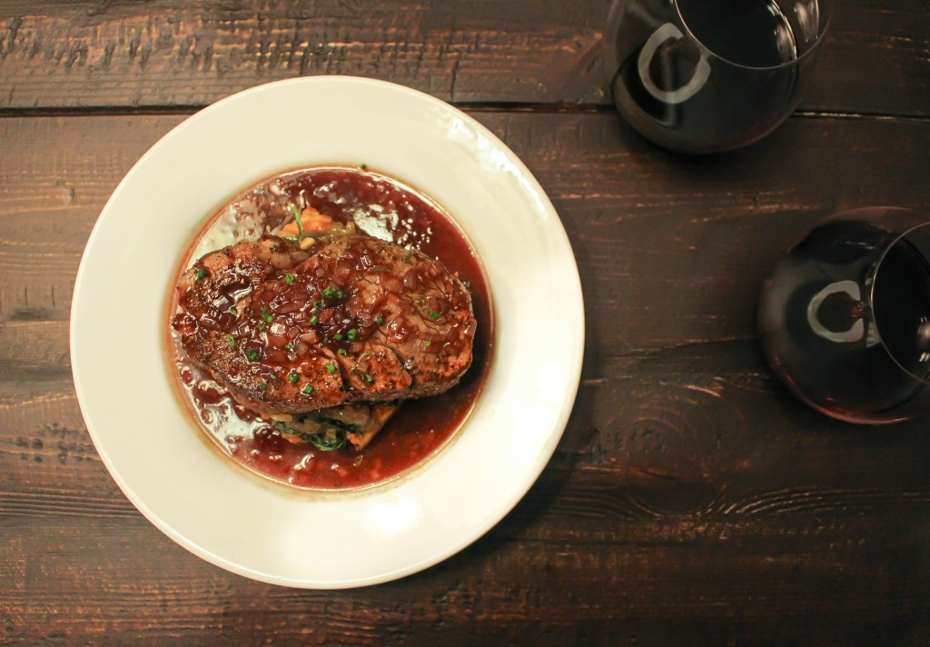 Steaks with Crispy Polenta, Caramelized Onions & Kale, & Balsamic-Cherry Sauce   Yes to Yolks