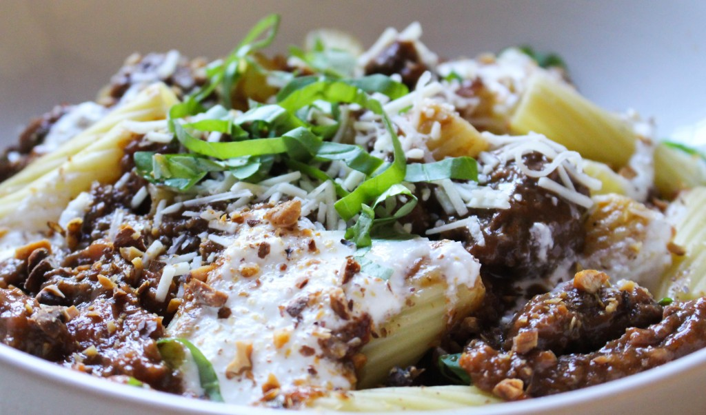 Rigatoni with Spiced Lamb Ragu, Softened Ricotta, & Toasted Walnuts | Yes to Yolks