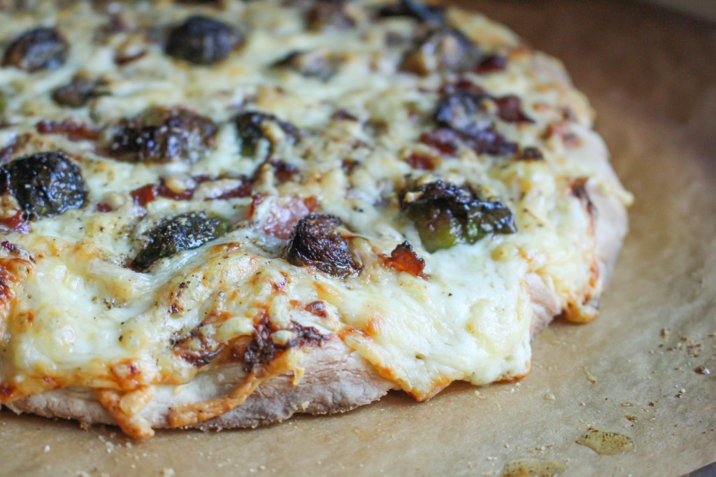 Pizza with Roasted Brussels, Bacon, & Roasted Garlic Cream | Yes to Yolks