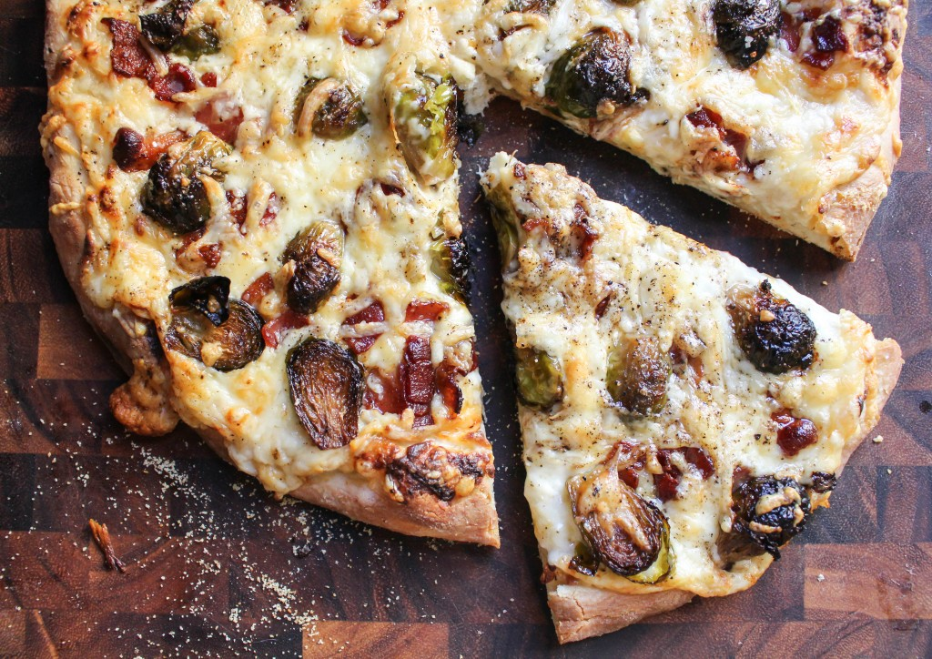 Pizza with Roasted Brussels, Bacon, & Roasted Garlic Cream   Yes to Yolks