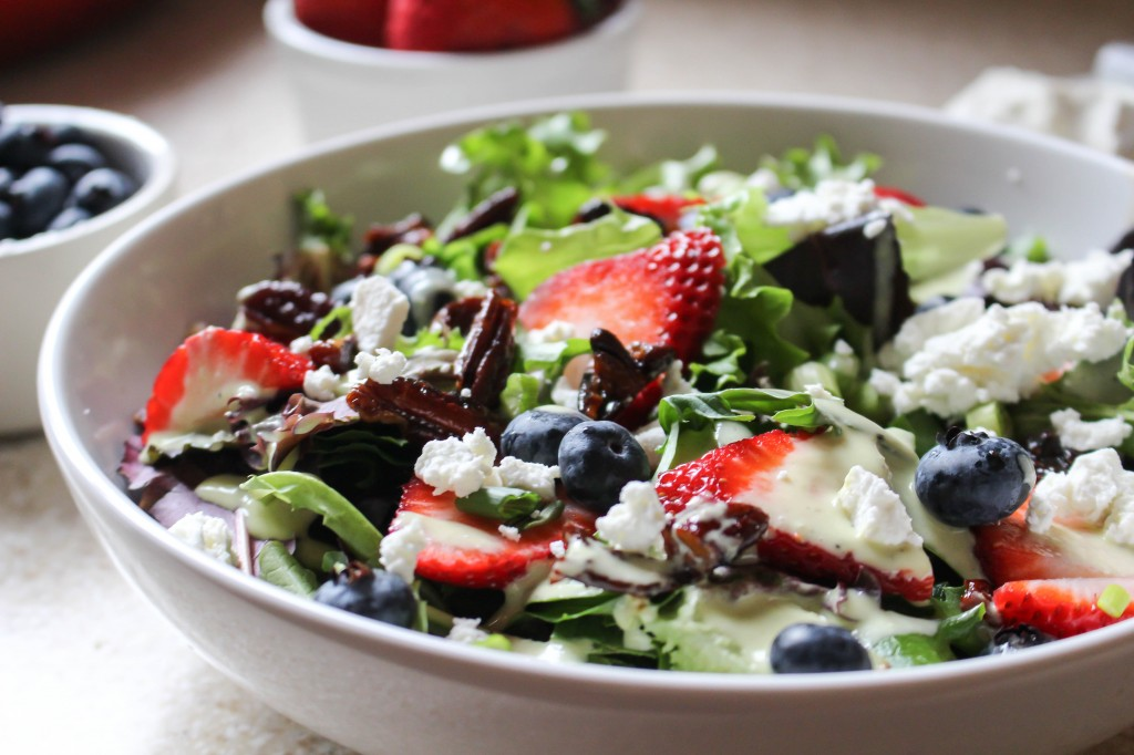 Salad with Spicy Pecans, Berries, & Goat Cheese-Scallion Dressing | Yes to Yolks