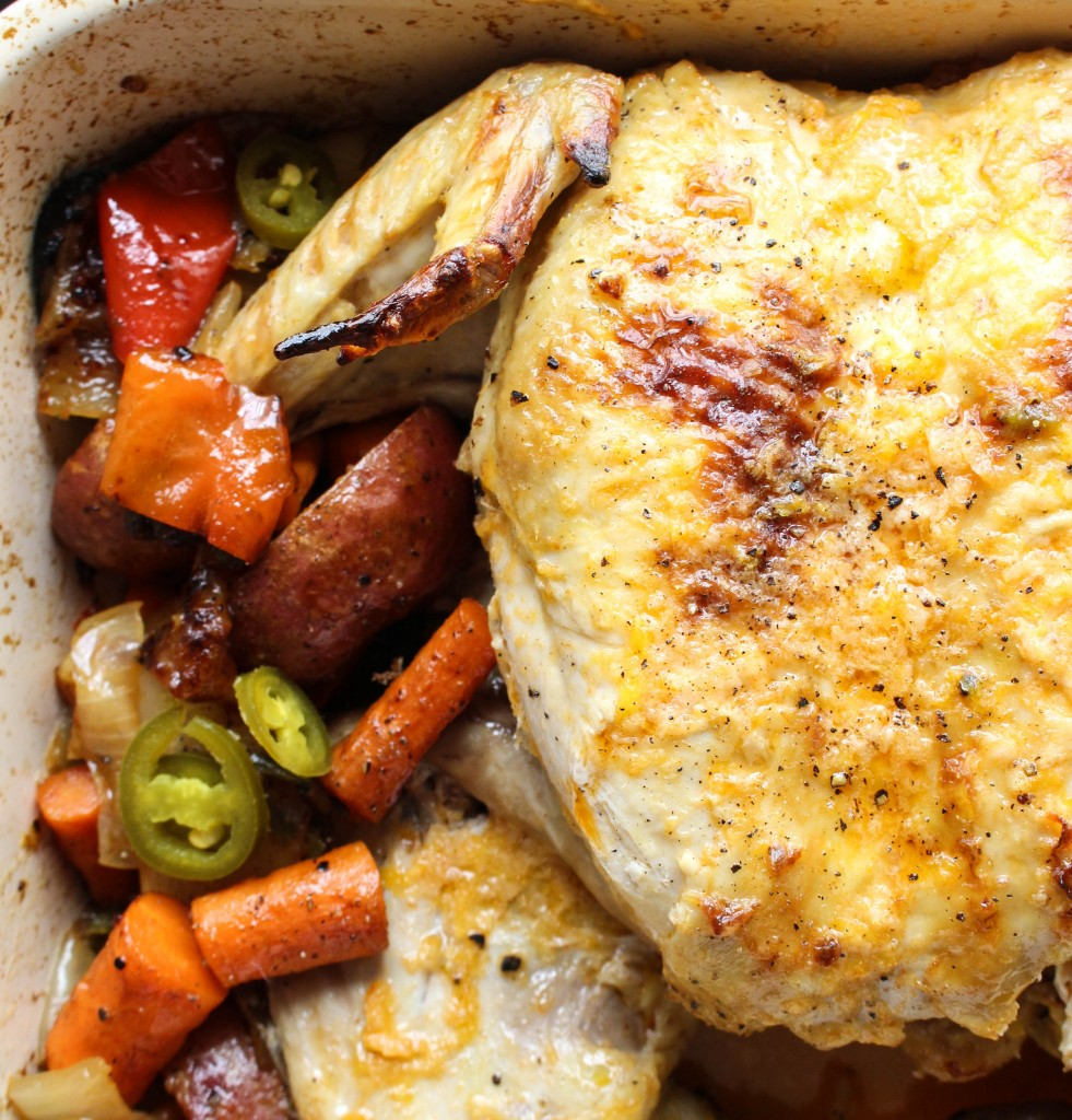 Spicy Roasted Spatchcocked Chicken & Veggies | Yes to Yolks