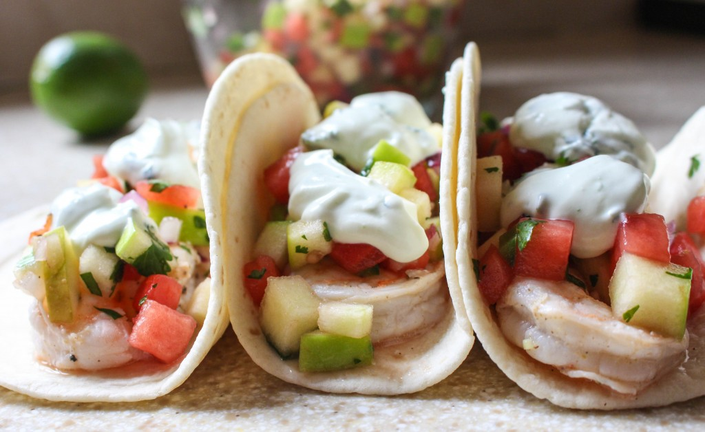 Shrimp Tacos with Watermelon-Apple Salad & Goat Cheese-Cilantro Cream   Yes to Yolks