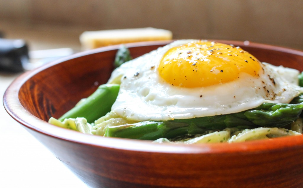 Lightened-Up Pasta Carbonara with Asparagus & Fried Egg