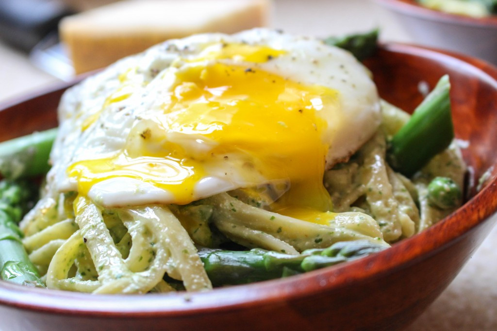 Lightened-Up Pasta Carbonara with Asparagus & Fried Egg | Yes to Yolks