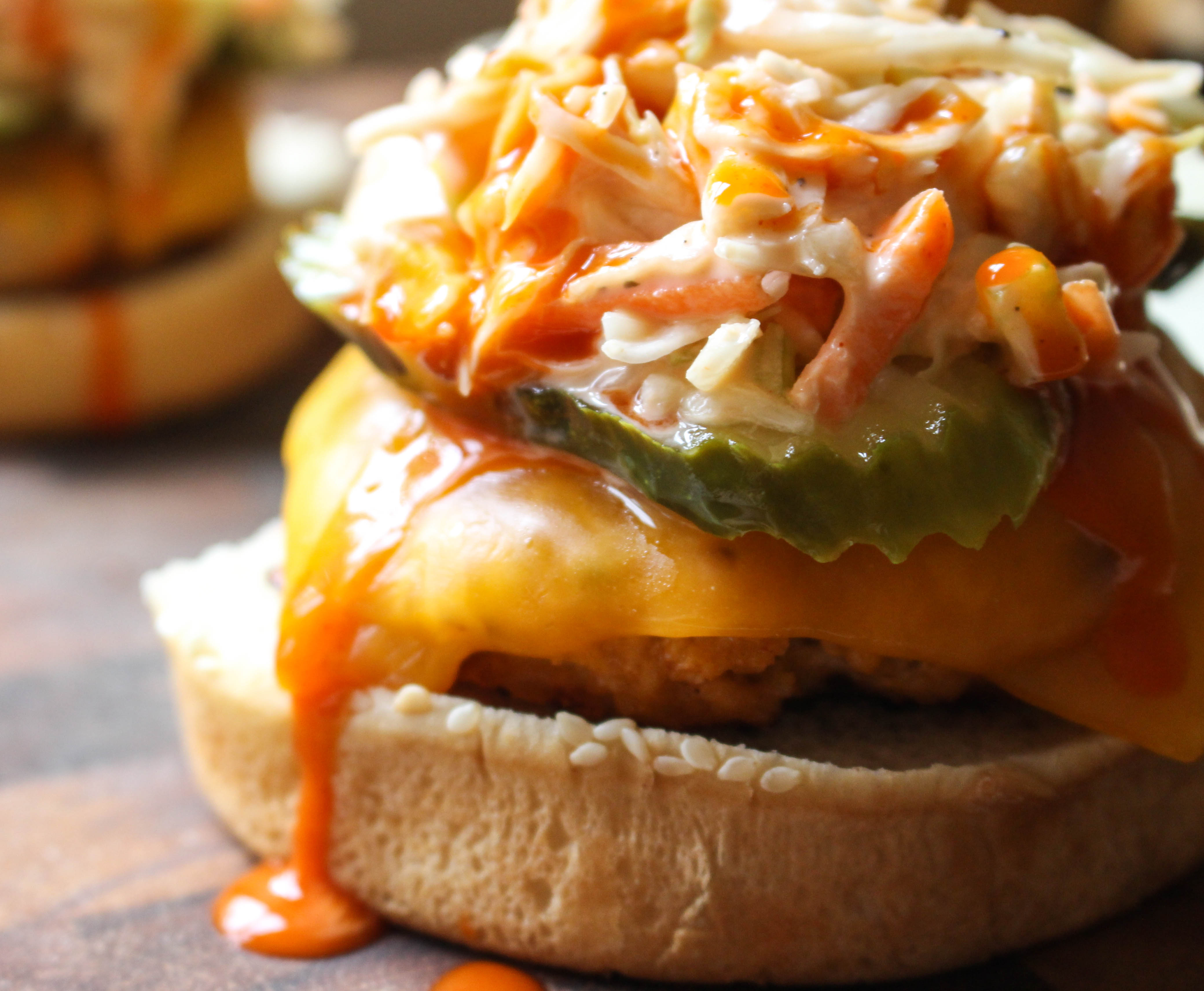 Buffalo Chicken Burgers with Celery Ranch Slaw