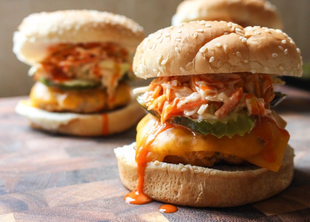 Buffalo Chicken Burgers with Celery Ranch Slaw   Yes to Yolks