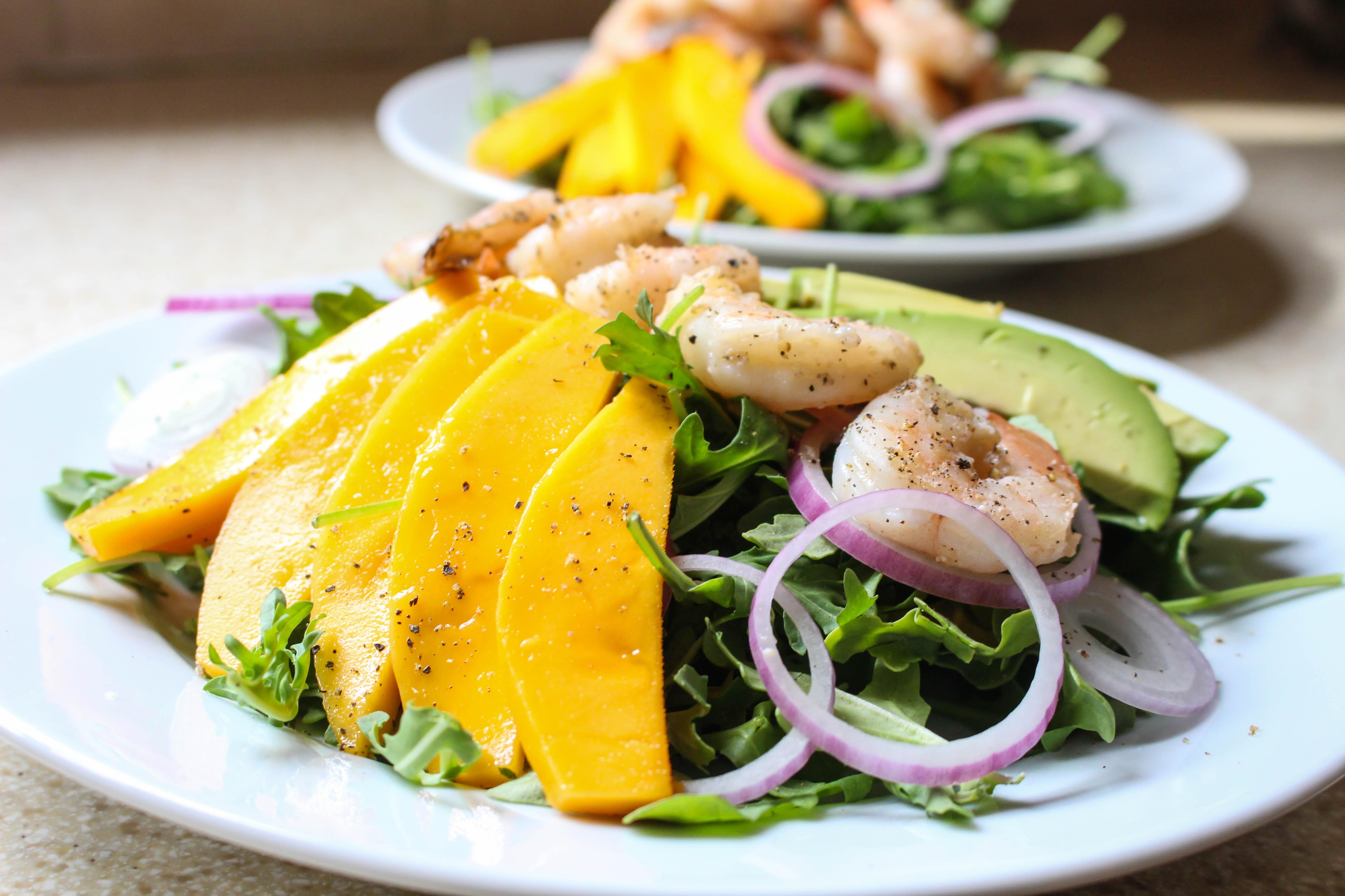 Tropical Shrimp Salad with Avocado, Mango, & Wasabi-Ginger Dressing