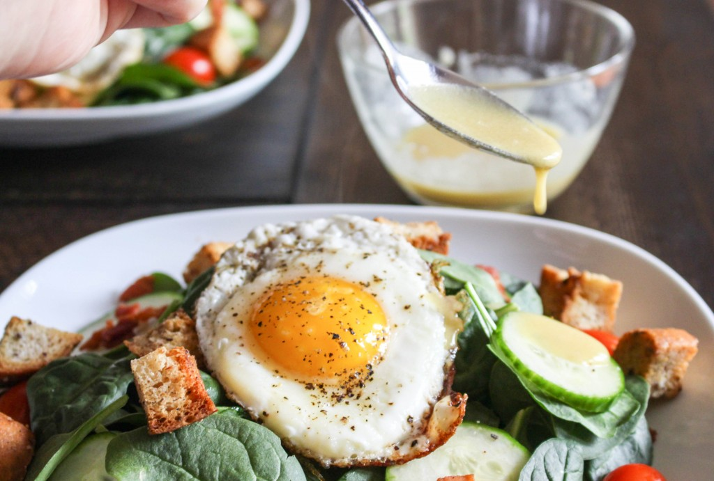 BLT Salad with Fried Egg & Spicy Bacon Croutons | Yes to Yolks