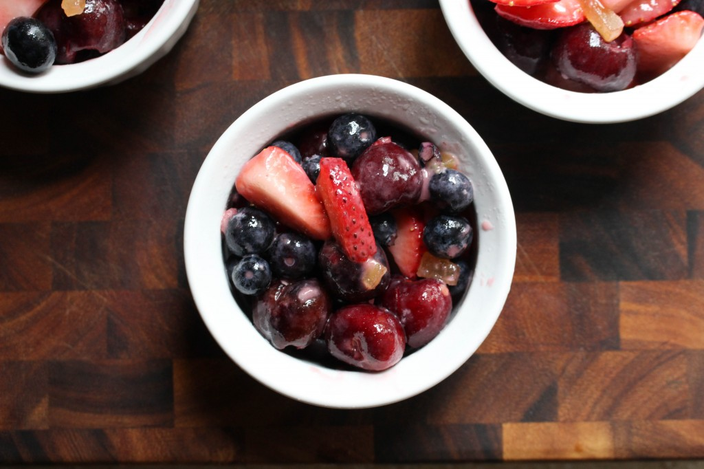 Fresh Cherry, Berry, & Ginger Crisps with Balsamic Whipped Cream | Yes to Yolks