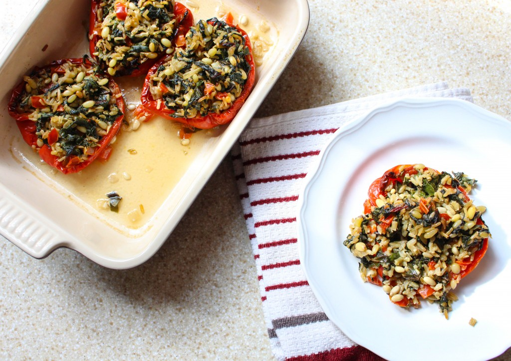 Roasted Red Peppers Stuffed with Swiss Chard & Brown Rice | Yes to Yolks