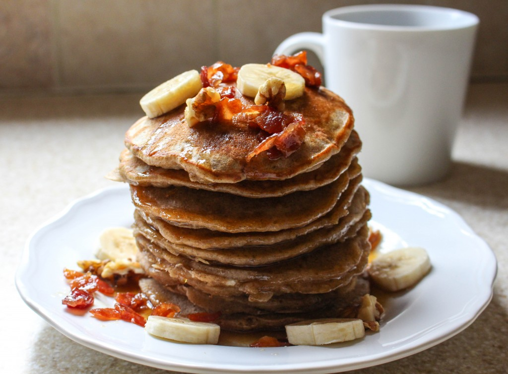 Elvis Pancakes (Peanut Butter-Banana Pancakes with Bacon Maple Syrup)   Yes to Yolks