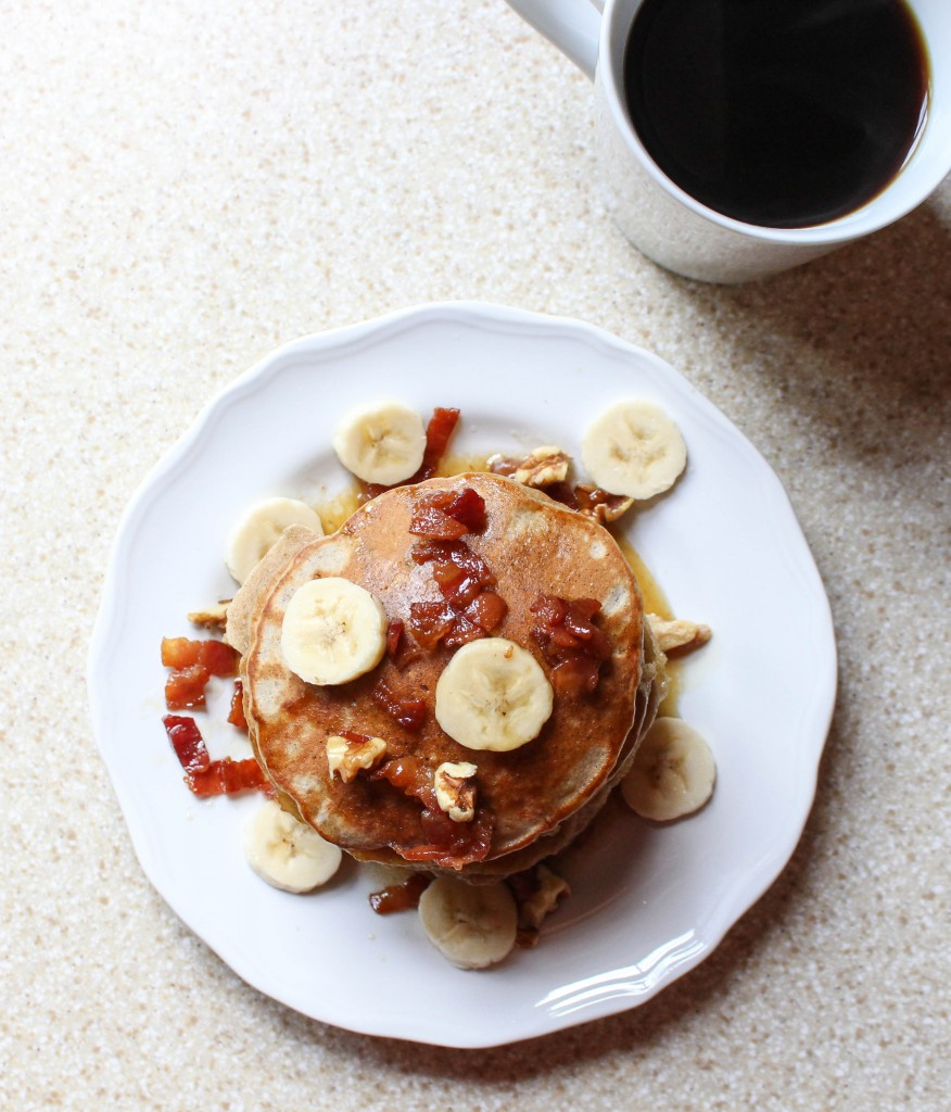 Elvis Pancakes (Peanut Butter-Banana Pancakes with Bacon Maple Syrup) | Yes to Yolks
