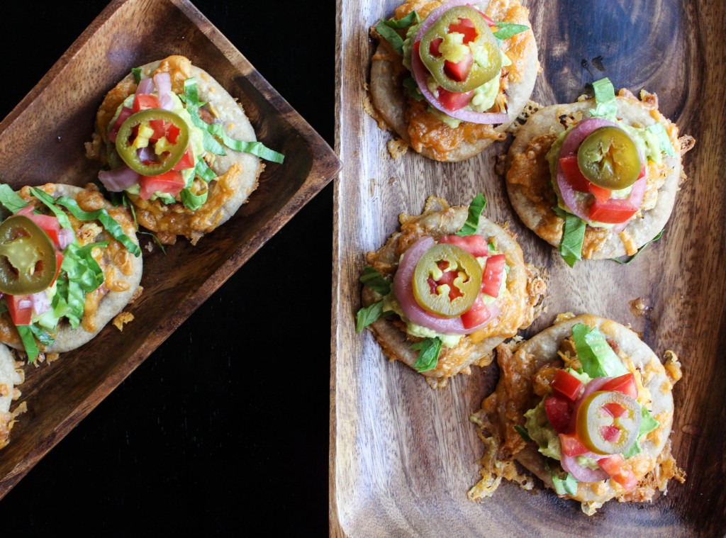 Mini Mexican Pizzas with Spicy Shredded Chicken & Avocado Crema | Yes to Yolks