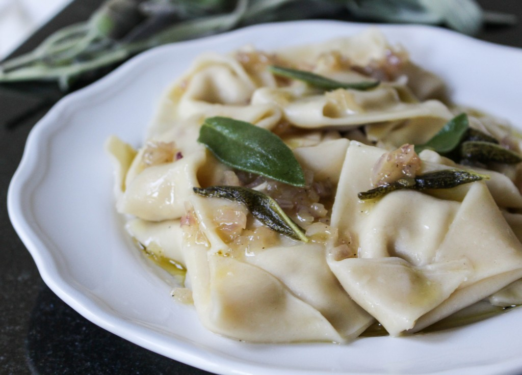 Pear & Cheese Ravioli with Brown Butter Sage Sauce | Yes to Yolks
