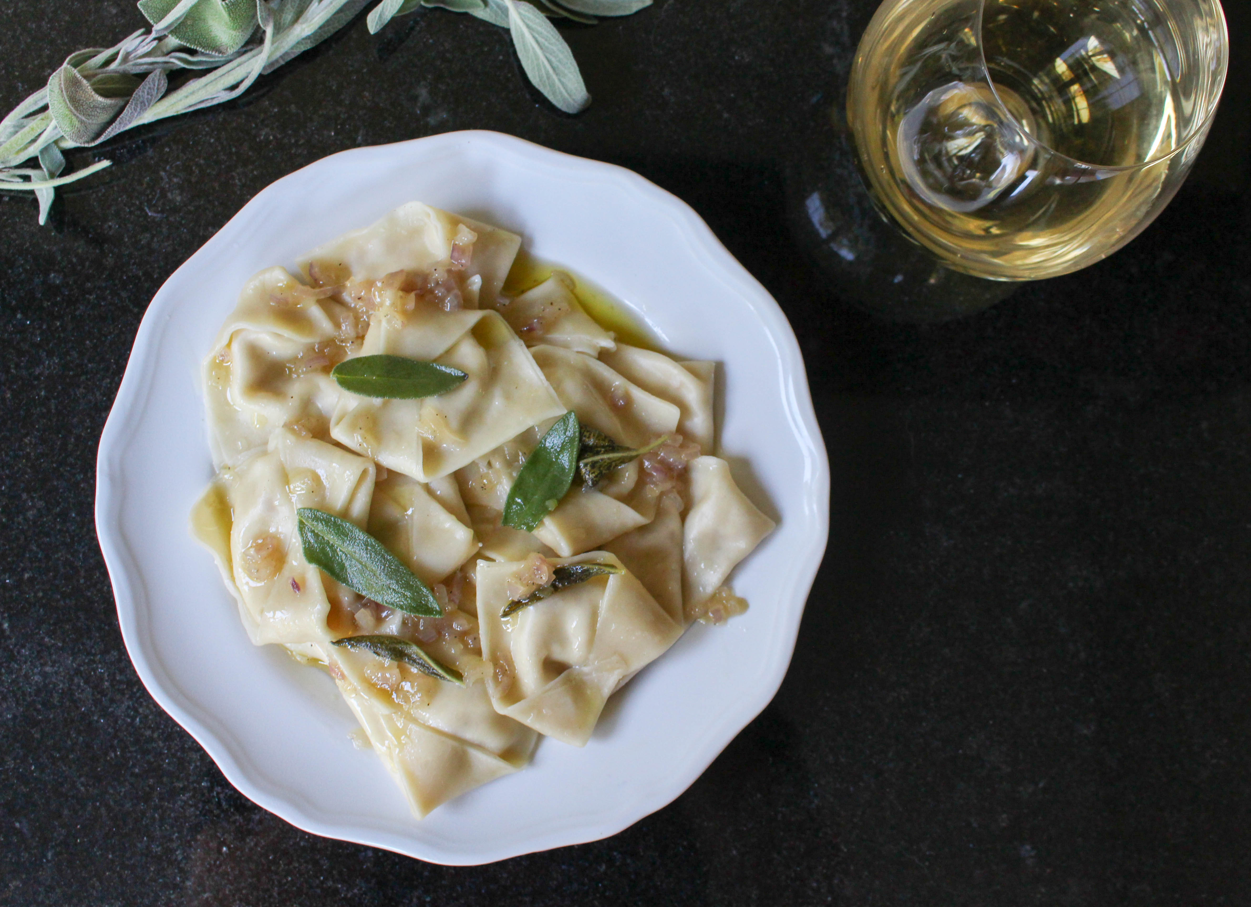 Pear & Cheese Ravioli with Brown Butter Sage Sauce