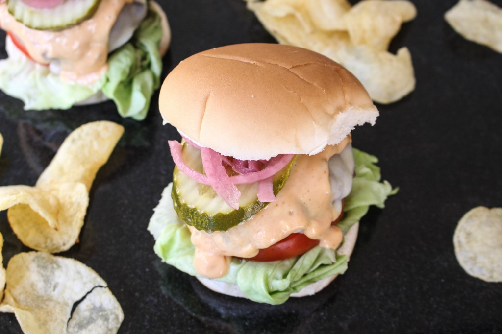 """Fig-Glazed Cheeseburgers with Pickled Red Onions & """"Special Sauce"""" 