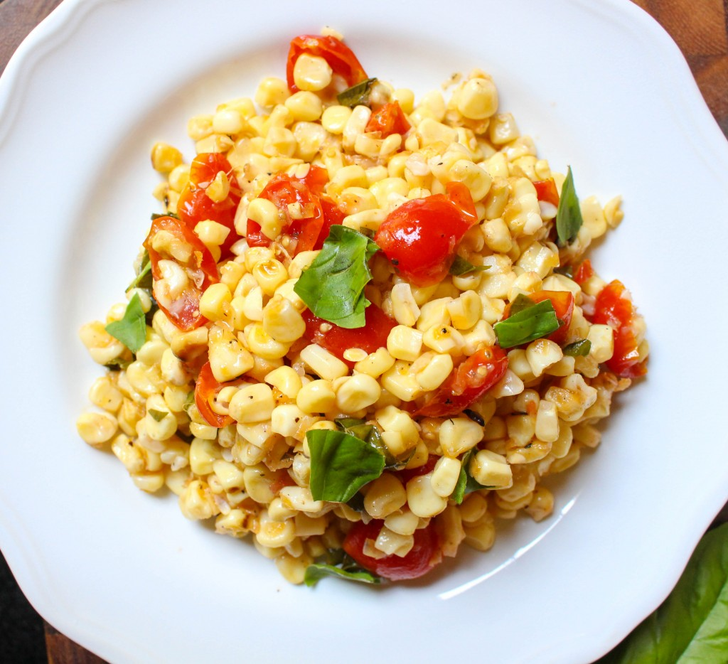 Grilled Corn & Tomato Salad with Shallot-Basil Vinaigrette | Yes to ...