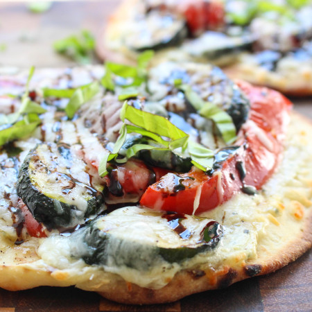Grilled Veggie & Whipped Ricotta Naan Pizza