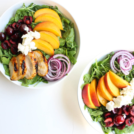 Peach-Glazed Grilled Chicken Salad with Cherries & Goat Cheese