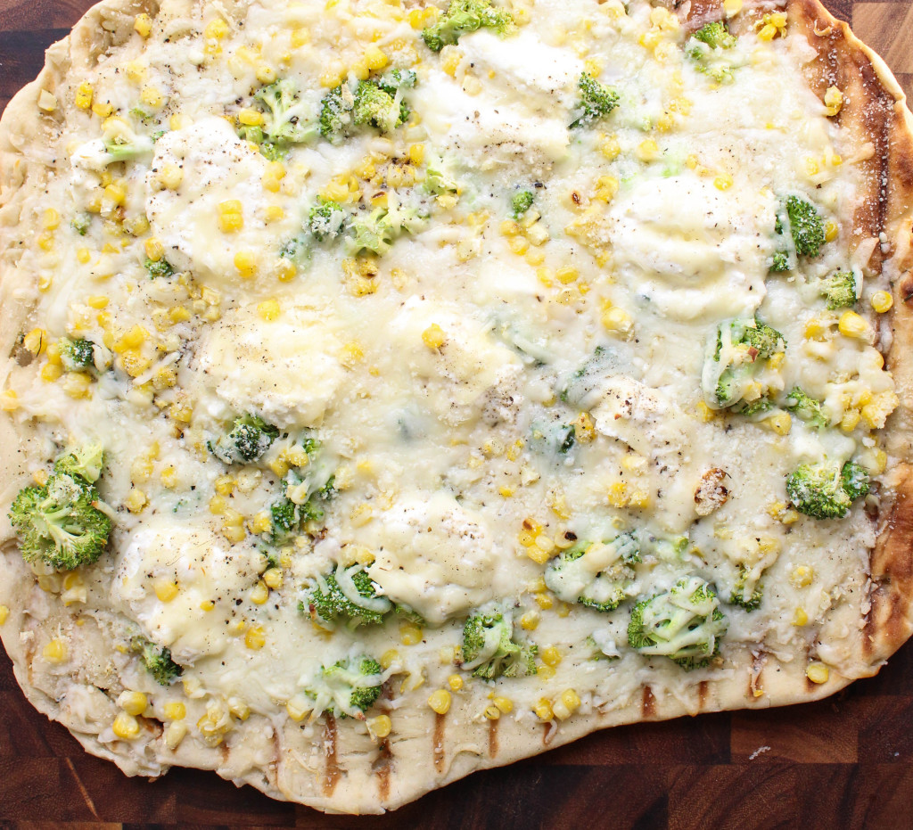 Grilled White Pizza with Ricotta, Corn, & Broccoli   Yes to Yolks