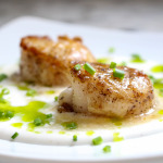 Seared Scallops with White Soy Cream & Chive Oil   Yes to Yolks