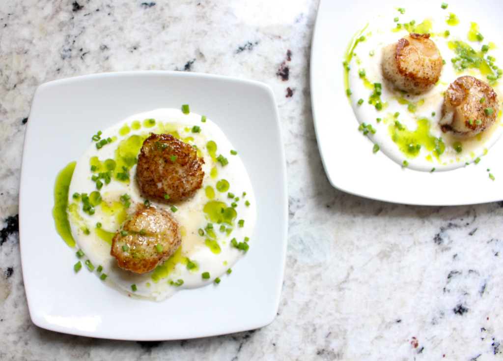Seared Scallops with White Soy Cream & Chive Oil | Yes to Yolks