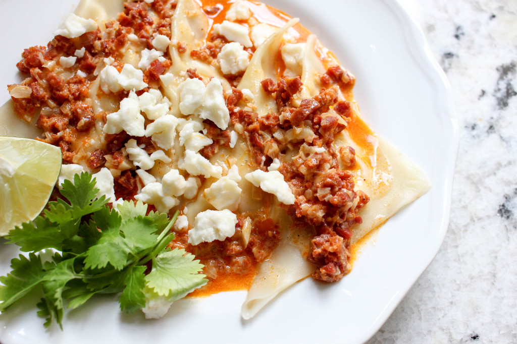 Fresh Corn Ravioli with Chorizo Sauce | Yes to Yolks