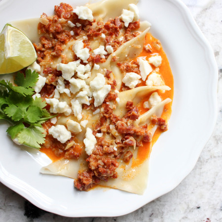 Fresh Corn Ravioli with Chorizo Sauce