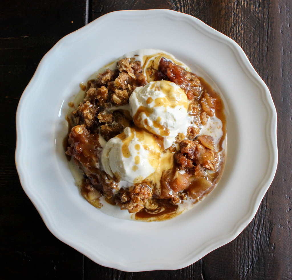 Apple Crisp with Salted Coffee Caramel Sauce | Yes to Yolks