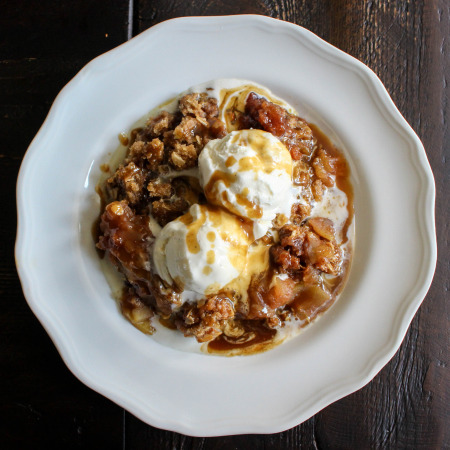 Apple Crisp with Salted Coffee Caramel Sauce