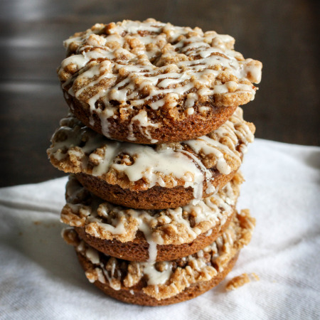 Baked Pumpkin Donuts with Coffee Cake Streusel & Maple Glaze