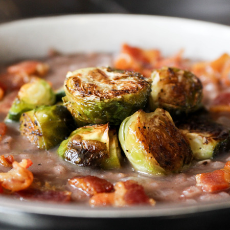 Red Wine Risotto with Bacon & Roasted Brussels Sprouts