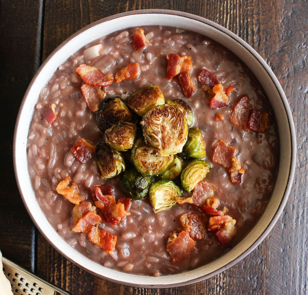 Red Wine Risotto with Bacon & Roasted Brussels Sprouts   Yes to Yolks