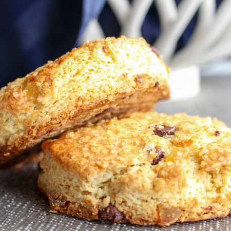 Dark Chocolate & Ginger Scones with Sweet Cinnamon Butter