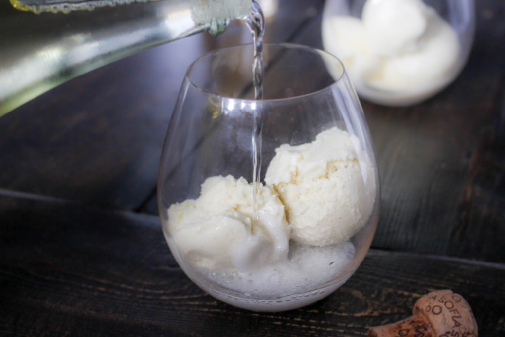 Champagne Floats with Elderflower-Vanilla Bean Ice Cream | Yes to Yolks