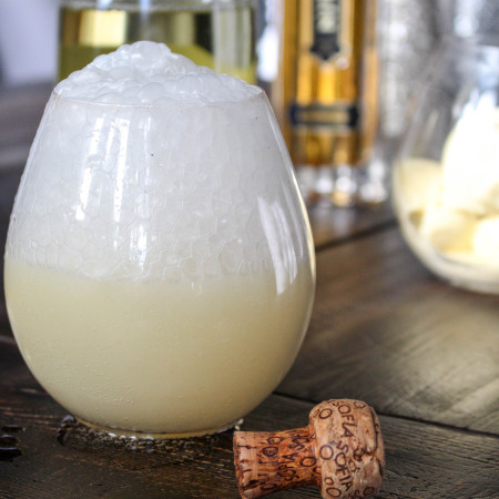 Champagne Floats with Elderflower-Vanilla Bean Ice Cream