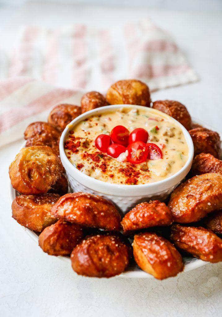 Chili-Spiced Soft Pretzel Bites with Chorizo-Cheddar Queso