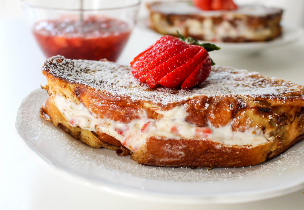 Strawberries & Cream Stuffed French Toast with Strawberry Maple Syrup | Yes to Yolks