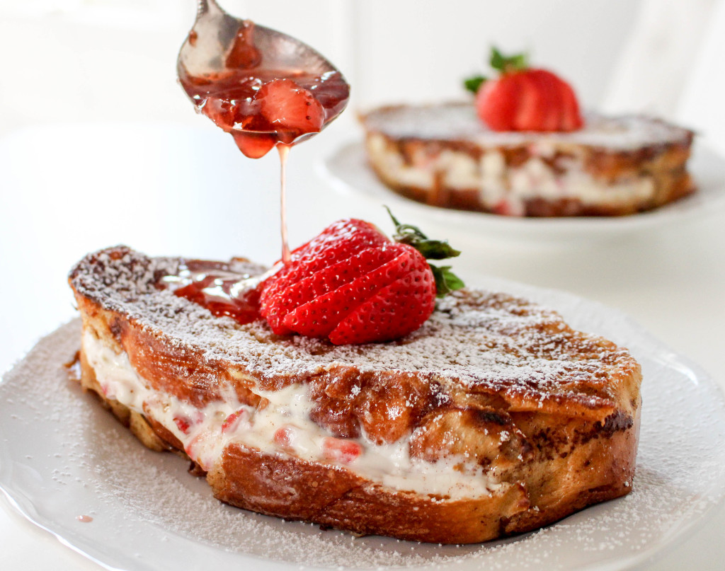 Strawberries & Cream Stuffed French Toast with Strawberry Maple Syrup ...