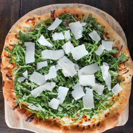 Fontina & Prosciutto Pizza with Lemony Arugula Salad