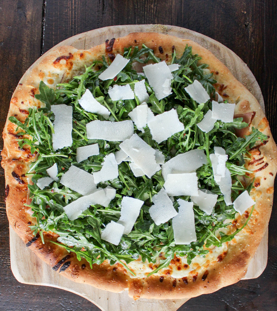 Fontina & Prosciutto Pizza with Lemony Arugula Salad | Yes to Yolks